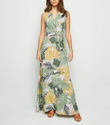 Blue Vanilla Green Tropical Leaf Maxi Dress by New Look
