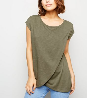 Maternity Olive Wrap Front Nursing T-Shirt