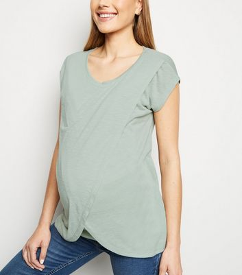 Maternity Mint Green Wrap Front Nursing T-Shirt