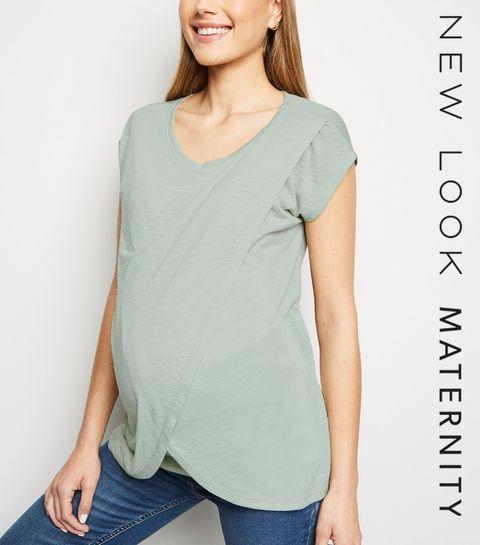 e1037fbdfb62 ... Maternity Mint Green Wrap Front Nursing T-Shirt ...
