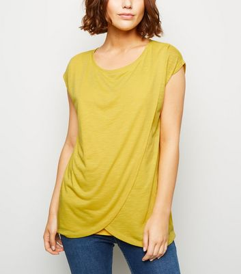 Maternity Yellow Wrap Front Nursing T-Shirt
