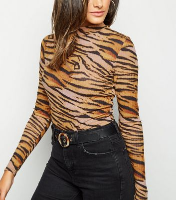 Brown Tiger Print Funnel Neck Top