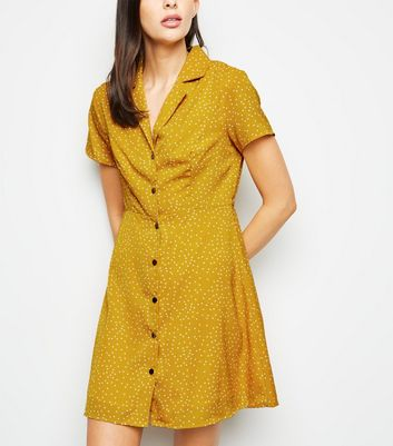 Blue Vanilla Mustard Spot Button Up Dress