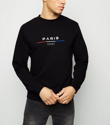Black Paris Sport Slogan Sweatshirt