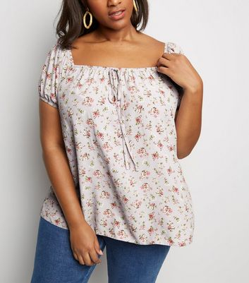 Curves Lilac Ditsy Floral Tie Bardot Top
