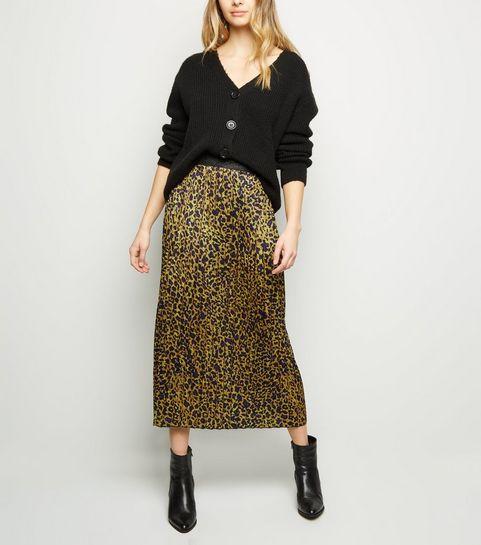 0fe29d2829ed4 ... Tokyo Doll Yellow Leopard Print Pleated Midi Skirt ...
