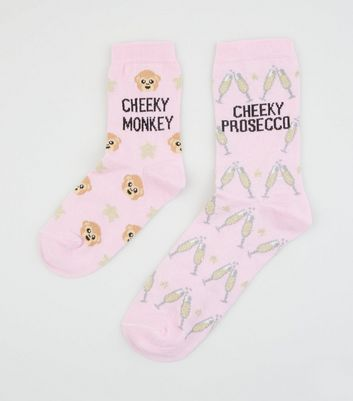 2 Pack Pink Monkey and Prosecco Slogan Socks