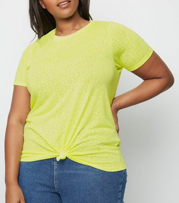 Curves Yellow Neon Leopard Burnout T-Shirt