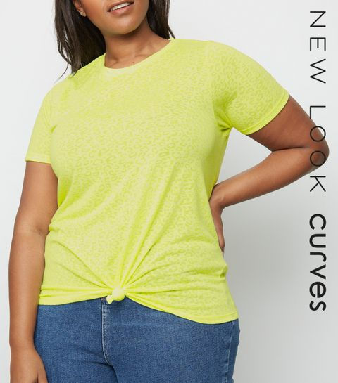 7194ef64872 ... Curves Yellow Neon Leopard Burnout T-Shirt ...
