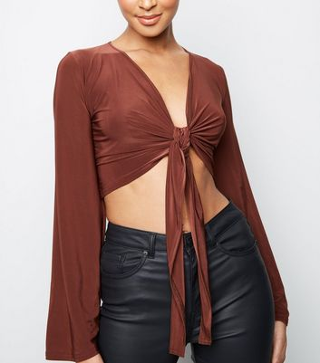 Rust Slinky Knot Front Long Sleeve Top