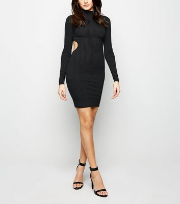 Black Ribbed Cut Out Back Bodycon Dress New Look