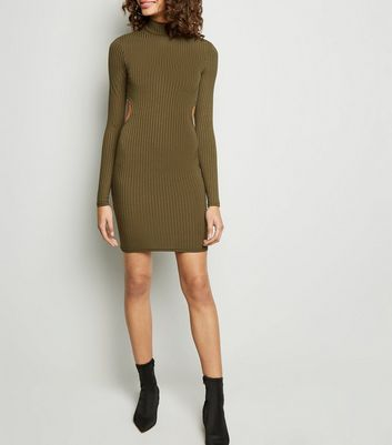 Khaki Ribbed Cut Out Back Bodycon Dress