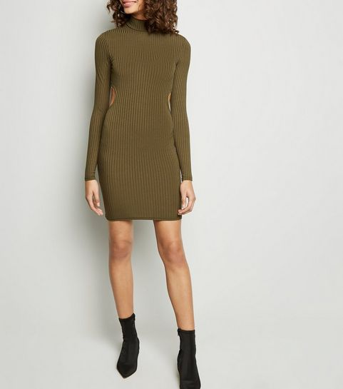a87b4bc0462e ... Khaki Ribbed Cut Out Back Bodycon Dress ...
