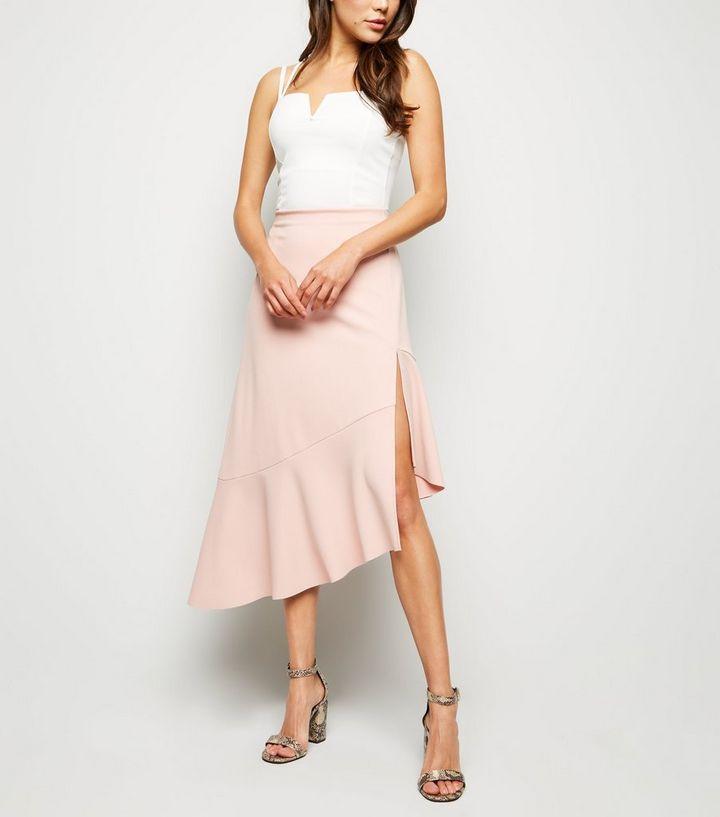 c7060f382 Pale Pink Frill Hem Asymmetric Midi Skirt | New Look