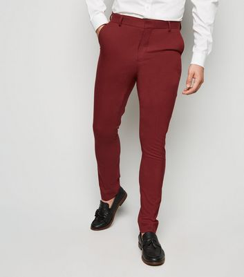 Dark Red Skinny Suit Trousers by New Look