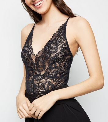 Cameo Rose Black Sheer Lace Bodysuit