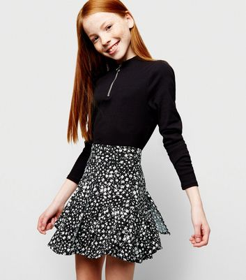 Girls Black Floral Frill Trim Skirt