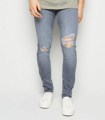 Grey Light Wash Ripped Knee Skinny Jeans