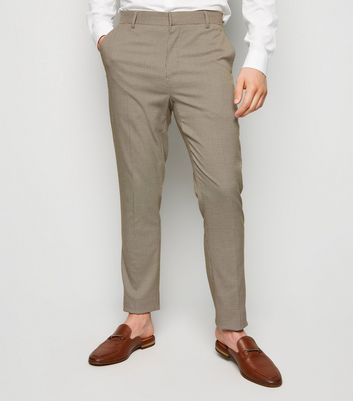 Camel Houndstooth Skinny Suit Trousers