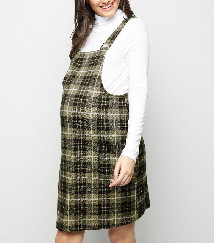 f695553852b Maternity Yellow Check Pinafore Dress