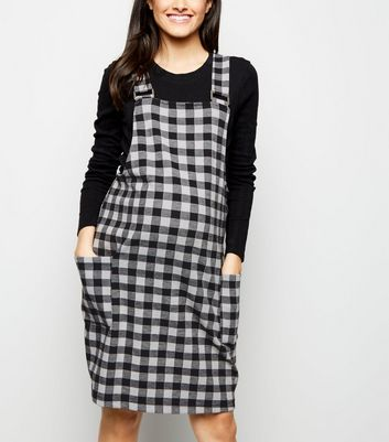 Maternity Black Gingham Jacquard Pinafore Dress