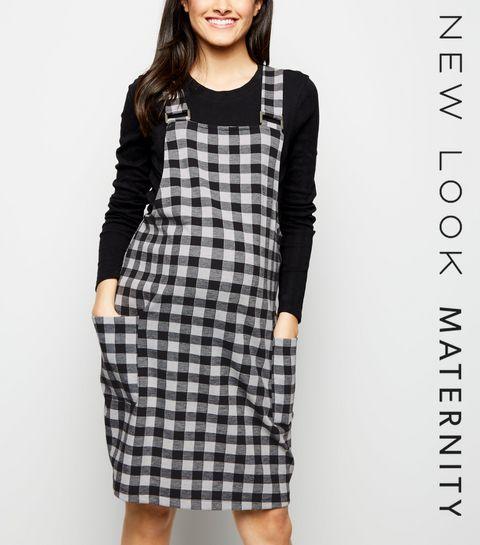f7c890055ff ... Maternity Black Gingham Jacquard Pinafore Dress ...