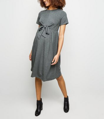 Maternity Grey Tie Front Smock Dress