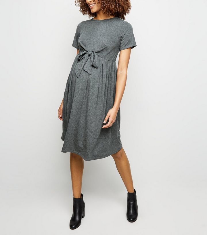 cc8bfa201e1ba Maternity Grey Tie Front Smock Dress | New Look