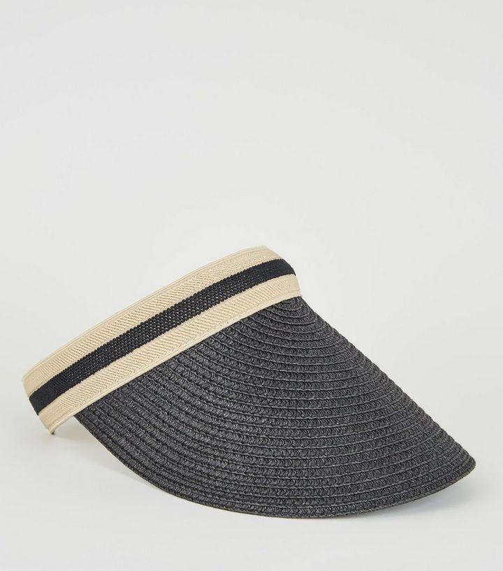 812c9da9fcbee Black Woven Straw Effect Visor Hat