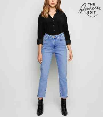 846adf96077165 Pale Blue Waist Enhance Slim Mom Jeans ...