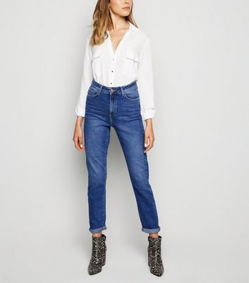 Blue Waist Enhance Slim Mom Jeans