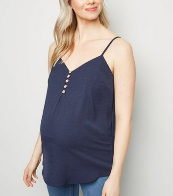 Maternity Navy Button Front Cami