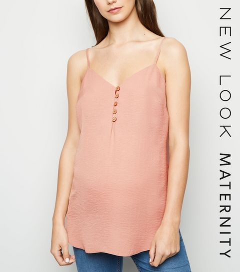 008384285a745 ... Maternity Pale Pink Button Front Cami ...