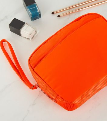 Coral Neon Mesh Pouch Bag