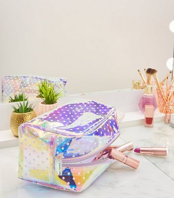Holographic Spot Print Large Make-Up Bag