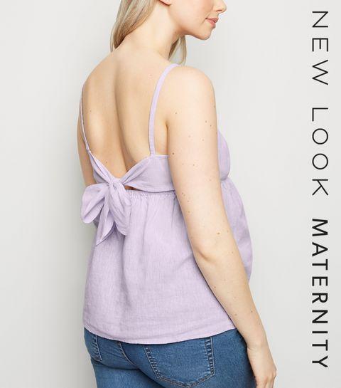 5e40d2258e12 ... Maternity Lilac Linen Blend Tie Back Cami ...