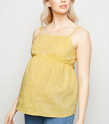 Maternity Yellow Linen Blend Tie Back Cami