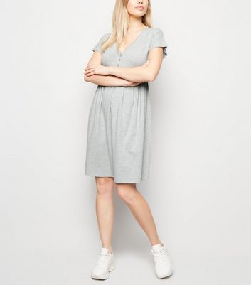 Maternity Grey Marl Button Front Smock Dress