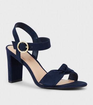 Wide Fit Navy Suedette Bow Strap Block Heels