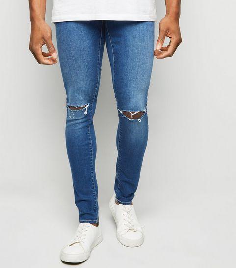 6617b06ffb ... Bright Blue Ripped Super Skinny Stretch Jeans ...