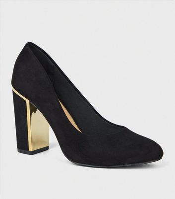 Wide Fit Black Metal Trim Block Heels