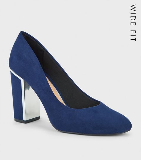 f53da3fe8184 ... Wide Fit Navy Suedette Block Heels ...