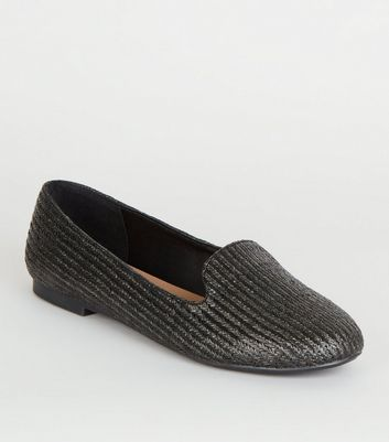 Black Woven Slip On Ballet Pumps