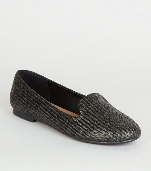 d7dffc14279 ... Black Woven Straw Effect Loafers ...