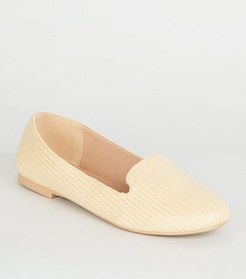 Off White Woven Straw Effect Loafers