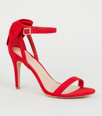 Red Suedette Bow Back Stilettos