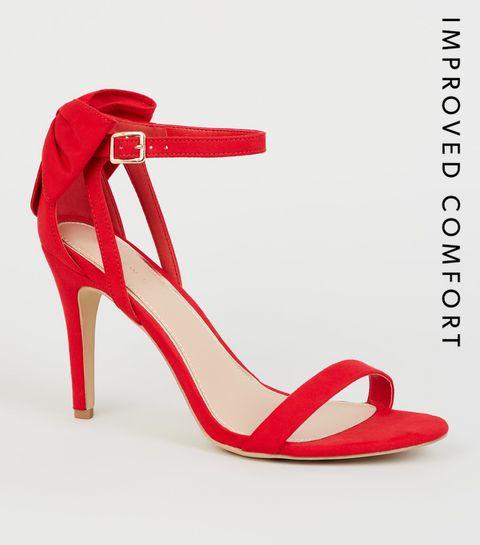 f3082af5107 ... Red Suedette Bow Back Stilettos ...