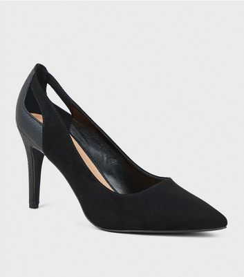 Wide Fit Black Faux Snake Court Shoes