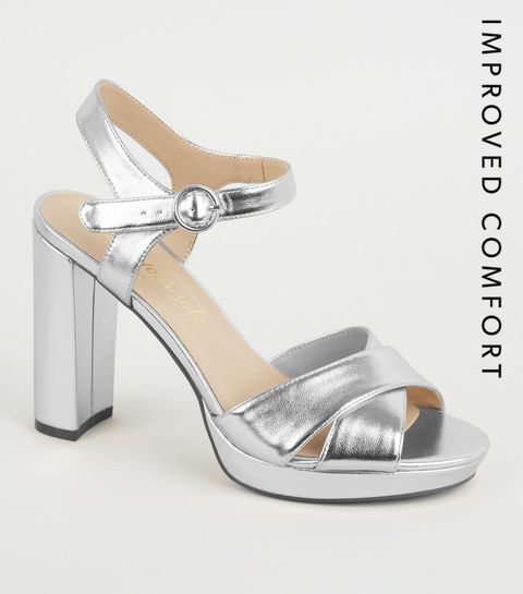 ecd57f234 ... Silver Metallic Cross Strap Block Heels ...