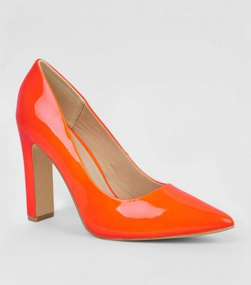 Wide Fit Orange Neon Block Heel Court Shoes